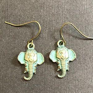 Handmade Jewelry - Verdigris Patina Elephant Head Dangle Earrings